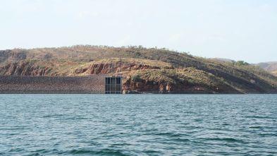 The big dam that creates the lake