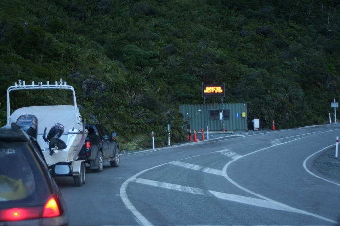 Waiting in line at the Homer tunnel, especially after the tunnel, chains could be required