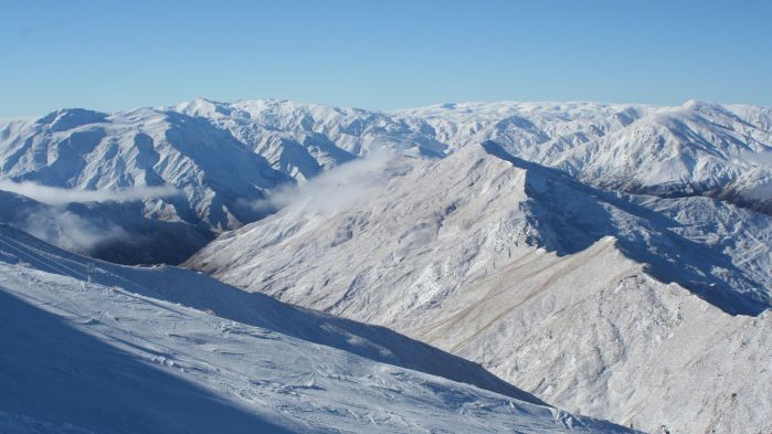 Looking out over the mountains surrounding Coronet Peak
