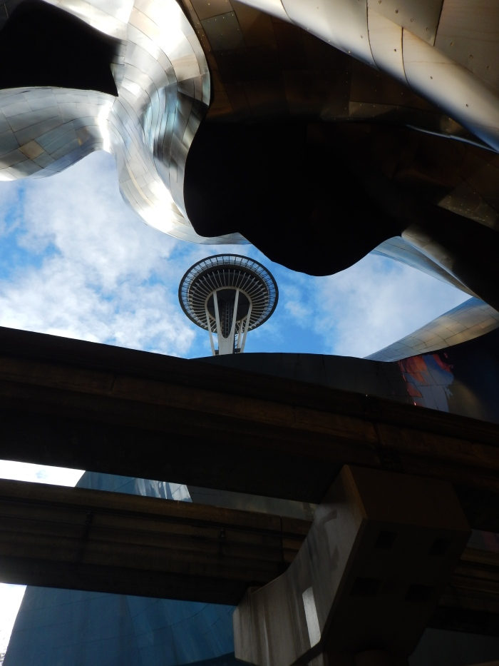 The Space Needle seen through the EMP building