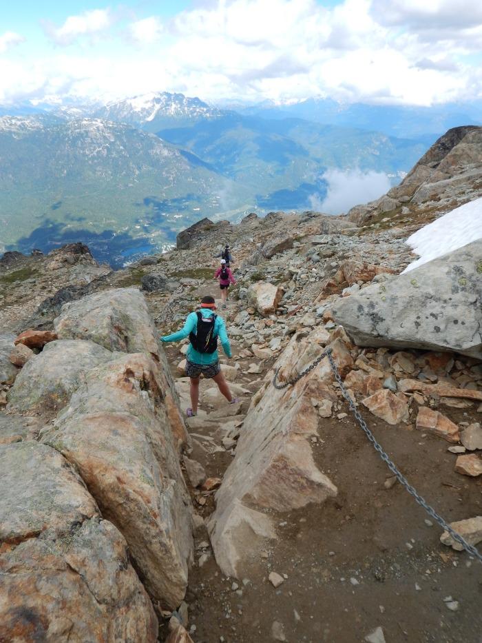 Trail runners descending.