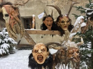 Crazy Krampus masks on display in Kitzbühel